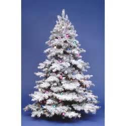 7 5 ft flocked alaskan full pre lit christmas tree