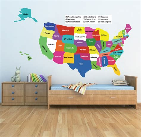 map usa vinyl united states map wall decal educational wall decal