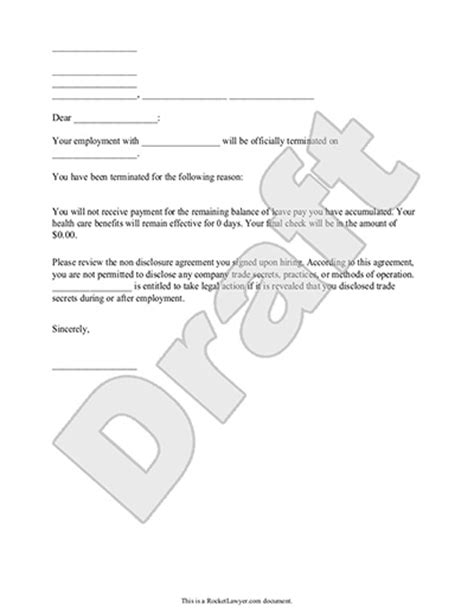 Employment Termination Letter New York Termination Letter For Employee Template With Sle