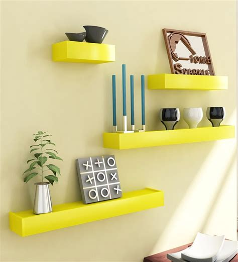 Yellow Wall Shelf by Home Sparkle Yellow Wooden Shelves Set Of 4 By Home