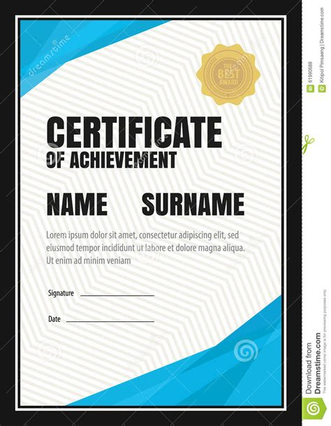 certificate template diploma letter size stock