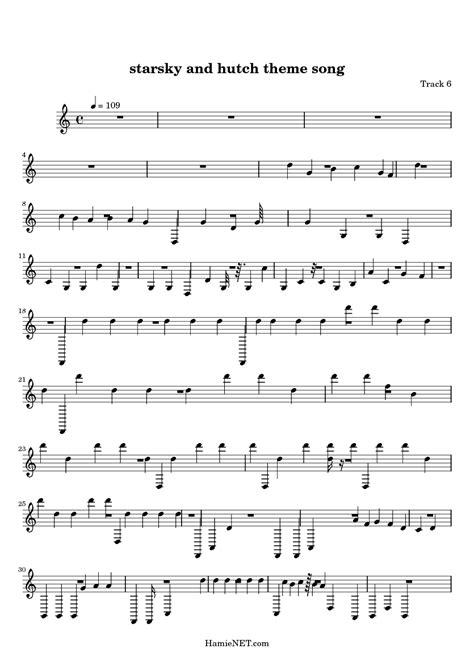 Starsky And Hutch Theme starsky and hutch theme song sheet starsky and hutch theme song score hamienet
