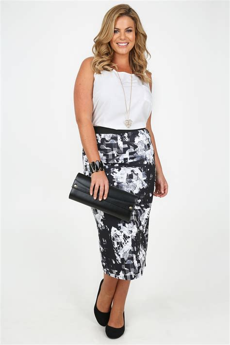 black and white floral abstract print pencil skirt plus