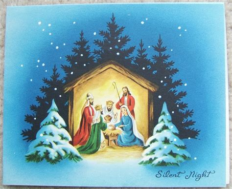 printable nativity scene christmas cards vintage nativity manger scene christmas six greeting cards