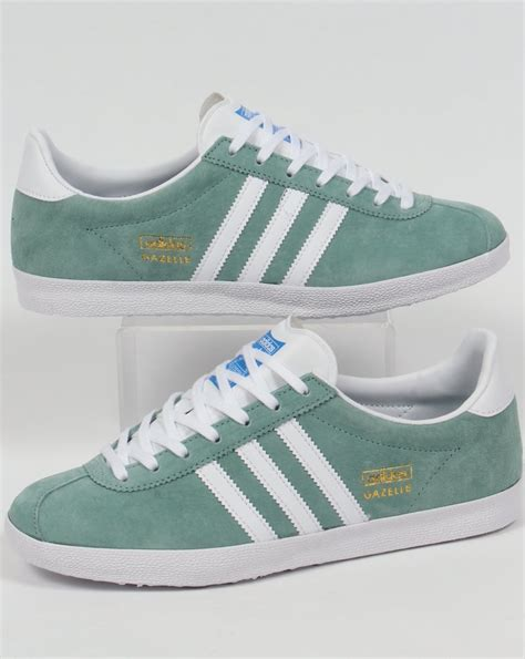 Adidas Green adidas gazelle og trainers legend green white originals