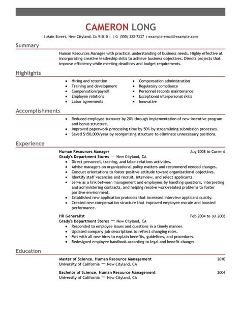 Hr Resume Skills by Director Of Human Resources Skills Resume Format