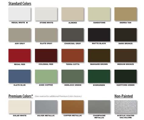 kynar series color chart metal roofing for residential and commercial roofs union corrugating
