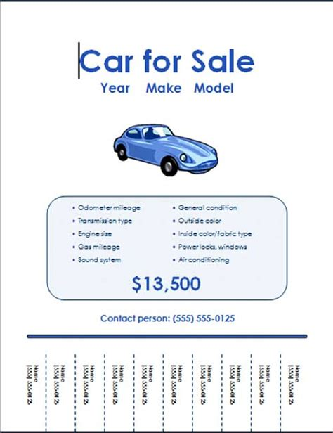 5 Free Car For Sale Flyer Templates Excel Pdf Formats For Sale Template