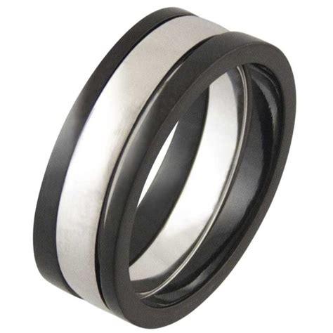 praise black titanium silver ring titanium rings