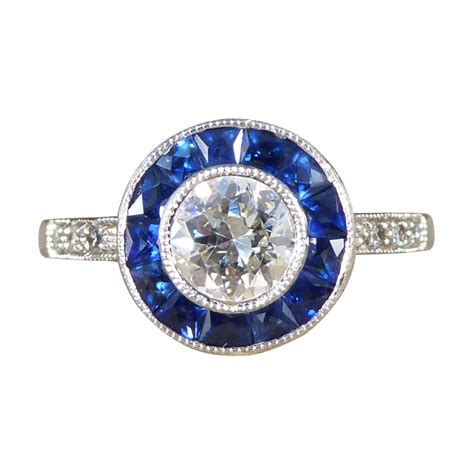 diamond and sapphire target engagement ring