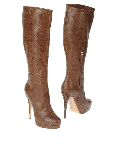 high heeled boots casadei high heeled boots in brown lyst