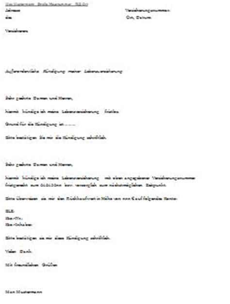 Musterbrief Anschreiben Versicherung K 252 Ndigungsschreiben Lebensversicherung
