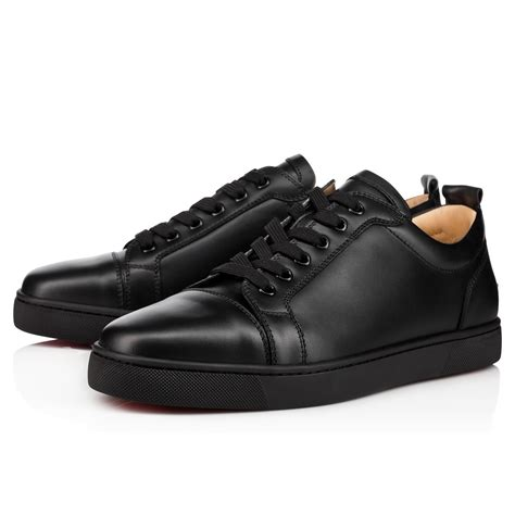 black leather sneakers mens christian louboutin louis junior s flat black leather