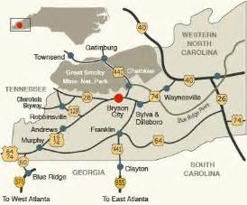 map of western carolina driving directions to bryson city nc western carolina road and highway information