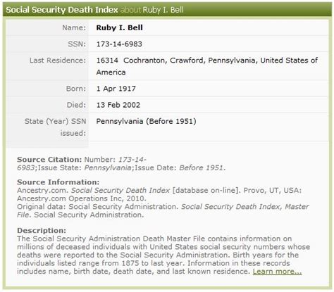 Ssdi Index Records Social Security Index Images