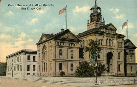 Court House Records Court House And Of Records San Diego Ca Postcard