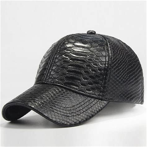 3pcs lot cool mens snakeskin leather baseball hats for