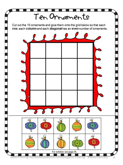 printable math puzzle games fun games 4 learning christmas math games