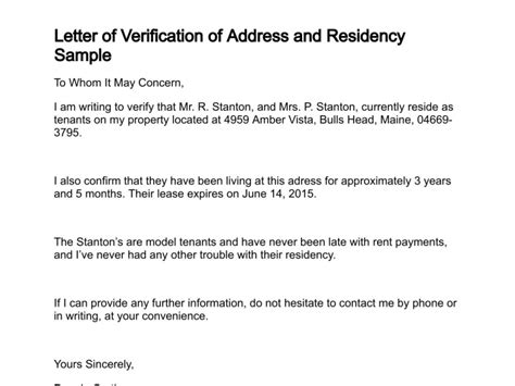 Verification Residence Letter Sle Letter To Confirm Residency Myideasbedroom