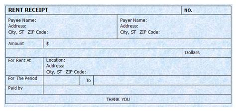 template for rent receipt house rent receipt template