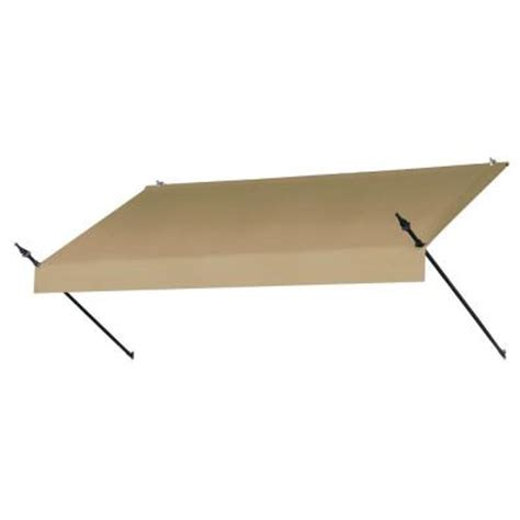 awnings in a box awnings in a box 8 ft designer awning 25 in projection in sand 470005 the home depot