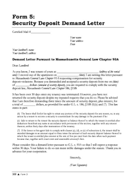 Demand Letter Refund Money Photo Sle Letter For Security Deposit Images