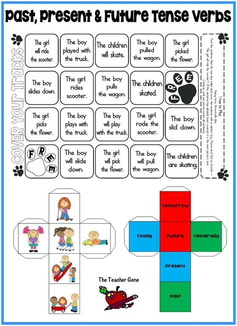 printable verb dice past present and future tense verbs regular irregular