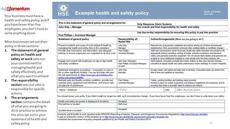 health and safety arrangements template choice image