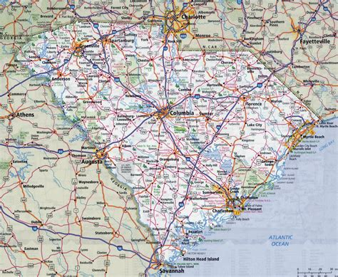 carolina map of cities large detailed roads and highways map of south carolina