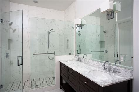 small tub shower combo Bathroom Contemporary with marble master bathroom remodel