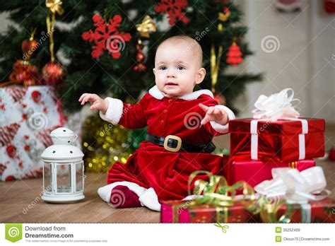 christmas baby with l stock image image of sweet