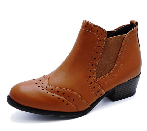 comfy boots low heel brogue chelsea pull on comfy ankle