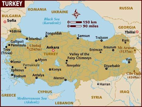 turkey on a map of europe map of turkey