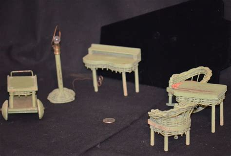 old wooden doll house old miniature wicker wood dollhouse furniture doll l chairs desk from