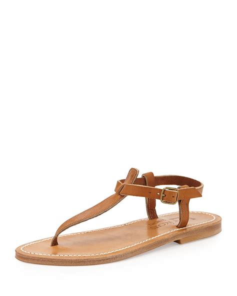 t sandals k jacques leather t flat sandal in brown lyst
