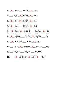 balancing chemical equations practice worksheet with answers business mentor