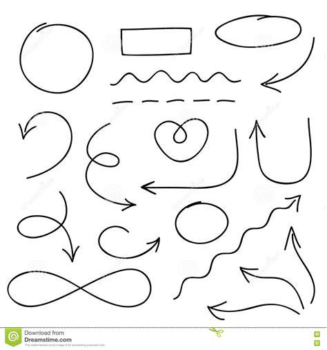 doodle and draw set arrows circles and doodle symbols vector set stock vector