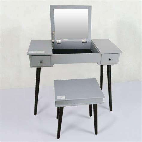 Grey Bedroom Vanity Grey Bedroom Makeup Vanity Set With Flip Top Mirror And