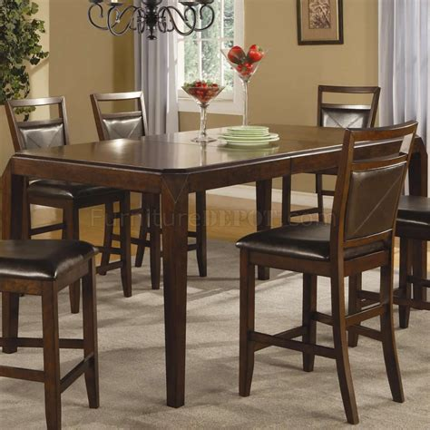 medium brown finish modern counter height dining table