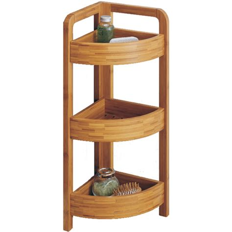 Free Standing Corner Shelf by Bamboo Corner Shelf 3 Tier In Free Standing Shelves