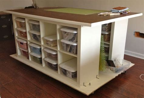 quilters table with storage on wheels built from 2 ikea expedit 2 x 4 bookcases and 2 sheets