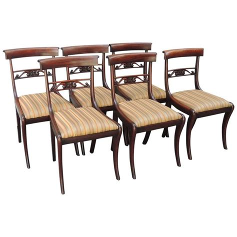 Regency Mahogany Dining Chairs Set Of Six Early 19th C Regency Mahogany Dining Chairs For Sale At 1stdibs