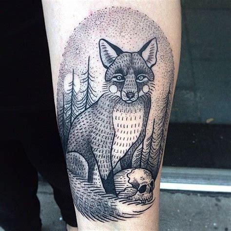 black and grey fox tattoo black fox tattoo