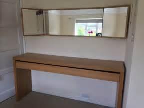 ikea malm oak large dressing table drawer and folding oak