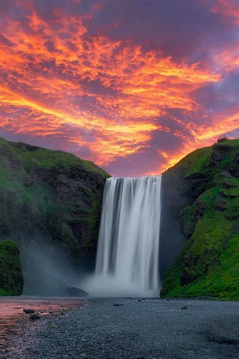Landscape Photography With Sun Waterfall At Sunset Beautifulnature