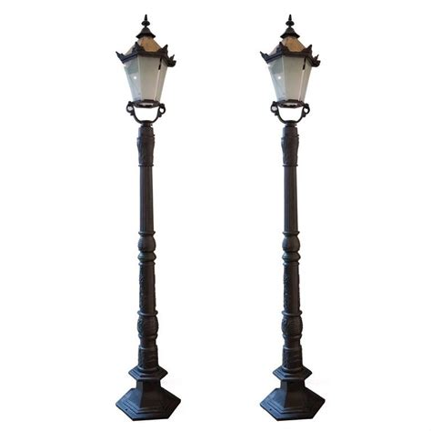 cast iron l posts and large square brass lantern