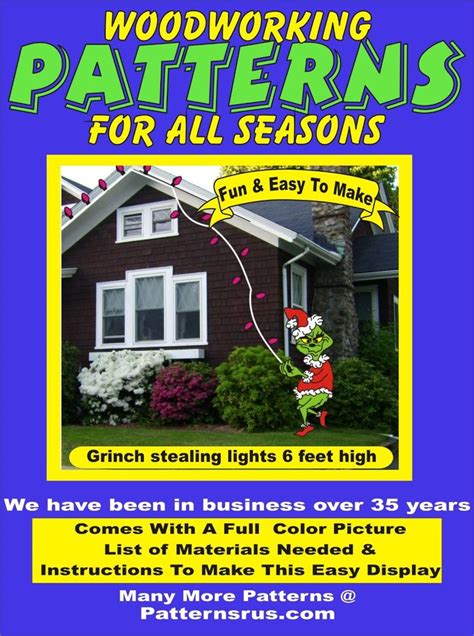 grinch pattern yard art grinch stealing lights christmas yard art pattern wood