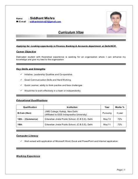 resume sles for fresh graduates bcom siddhant mishra resume b