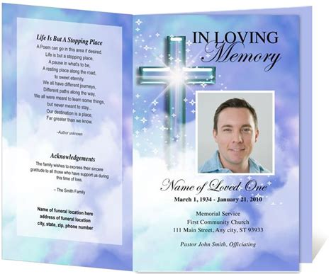 free memorial card template with messianic symbols poems edit print ready made program clerical