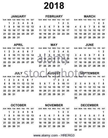 Calendar 2018 Editable 2018 Calendar Stock Photos 2018 Calendar Stock Images
